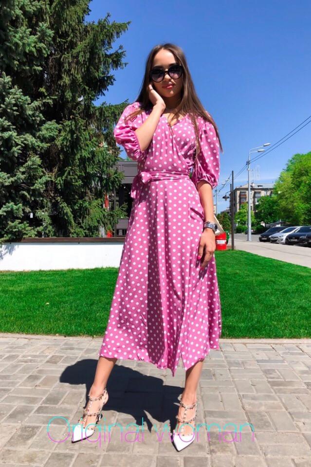 Платье в горошек на запах ниже колена высокая талия