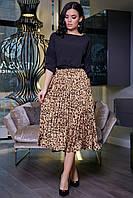 ✔️ Женская юбка плиссе миди леопардовая 40-46 размера бежевая, фото 1