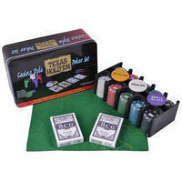 Покерный набор на 200 фишек с номиналом в металлической коробке «Техасский холдем» №200T-2