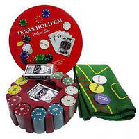 Покерный набор на 240 фишек с номиналом в круглой металлической упаковке №240T