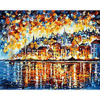 Картина по номерам на холсте Горящие цвета города, KHO3551