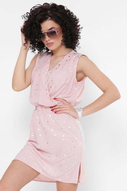 Платье Milena звездочки на пудровом (42-48)