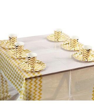 Скатерть праздничная ЗИГЗАГ золото