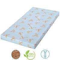 Детский матрас в кроватку кокосовая койра (4 слоя) Голубой