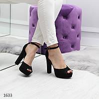 Женские замшевые босоножки со шлейкой на высоком каблуке 40 р-р