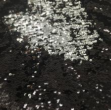 Паєтки двосторонні на тканині 25 х 28 см, колір чорний - срібло