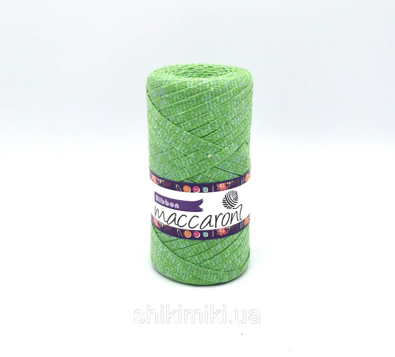 Трикотажный плоский шнур Ribbon Glitter, цвет Зеленое яблоко