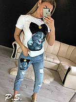 Костюм джинсовый с футболкой котик с бантом, фото 2