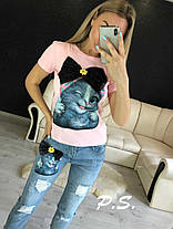 Костюм джинсовый с футболкой котик с бантом, фото 3