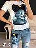 Костюм джинсовый с футболкой котик с бантом, фото 5