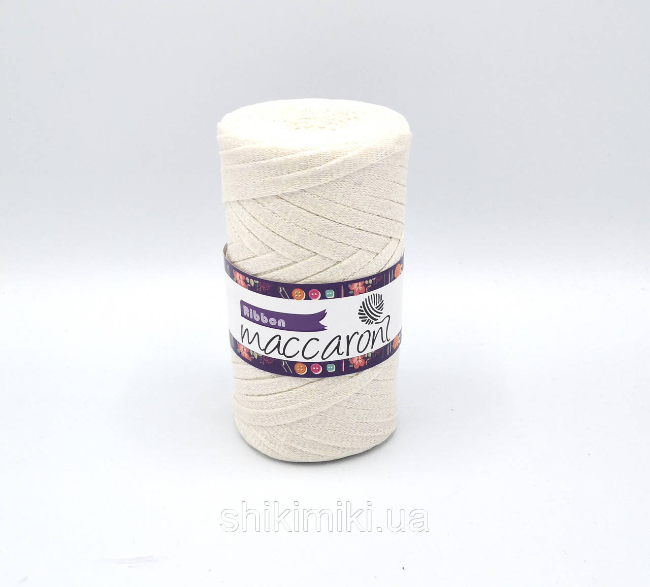 Трикотажный плоский шнур Ribbon Glitter, цвет Пломбир