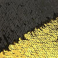 Ткань с двухсторонними (реверсными) пайетками, 25 х 30 см, цвета черный - золото