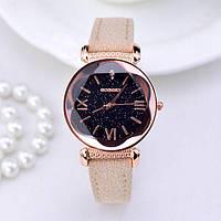 Роскошные Женские часы Gogoey Beige с замшевым ремешком