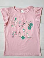 Розовая футболка на девочку C&A Германия Размер 128