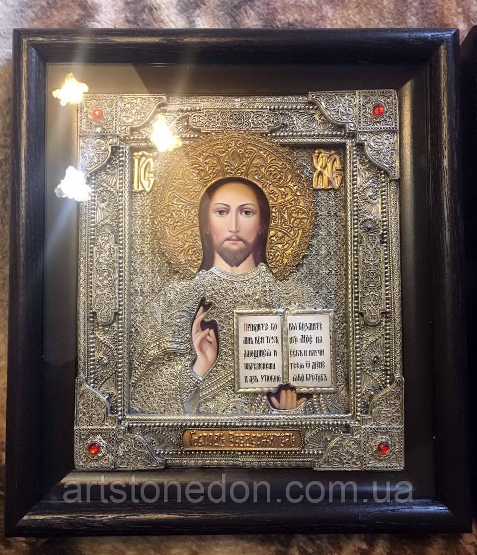 Икона Спаситель №15 с филигранью