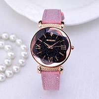Роскошные Женские часы Gogoey Pink с замшевым ремешком