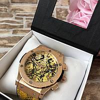 Стильные женские наручные часы Big Bang Gold  Змея (Snake) желтые
