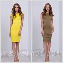 Зеленое темное платье футляр с коротким рукавом Миди Батал Изумруд 48 50 52, фото 3