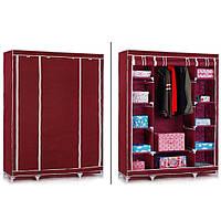 Портативный  шкаф-органайзер 3 секции бордовый (HT249)