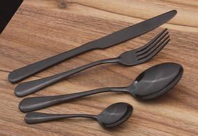 Набор столовых приборов 4 предмета черный (HT463)