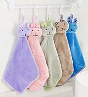 Детское полотенце для рук зайка кофейный (HT506)