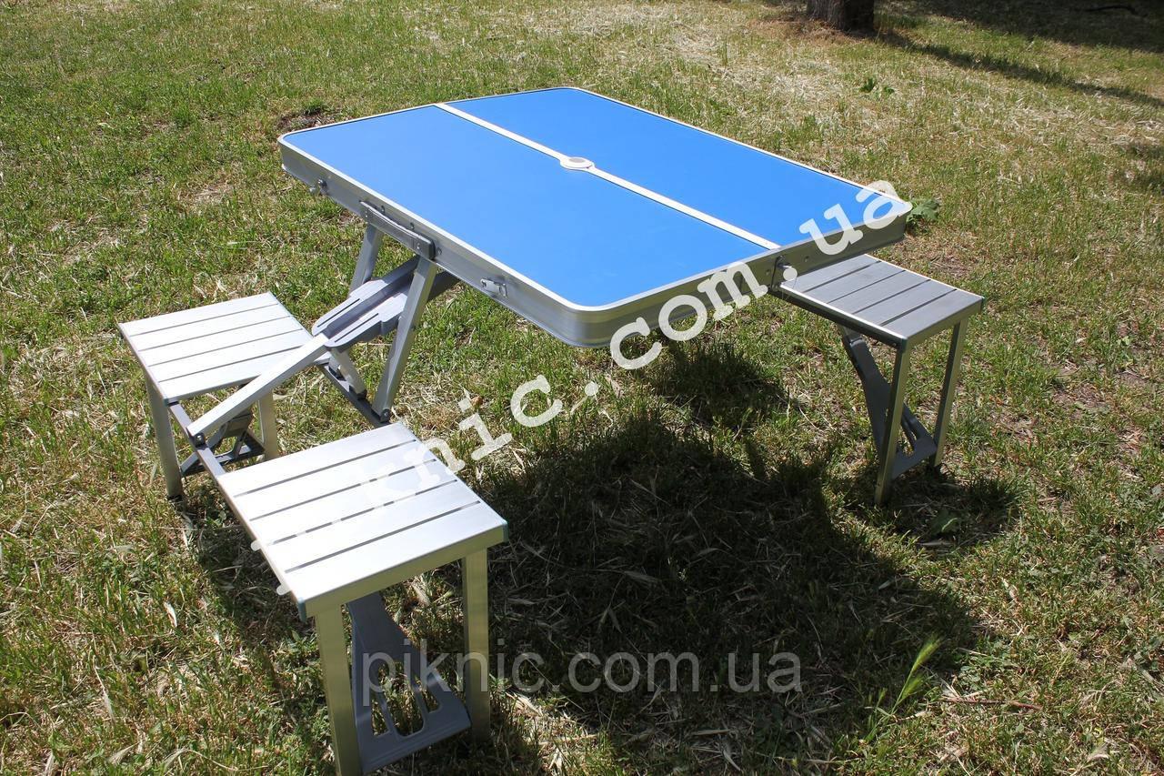 Стол раскладной для пикника с 4 стульями. Столик туристический алюминиевый для отдыха