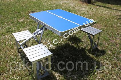 Стол раскладной для пикника с 4 стульями. Столик туристический алюминиевый для отдыха, фото 2
