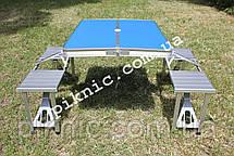 Стол раскладной для пикника с 4 стульями. Столик туристический алюминиевый для отдыха, фото 3