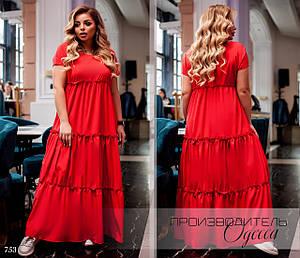 Платье короткий рукав длинное летнее софт 58-60