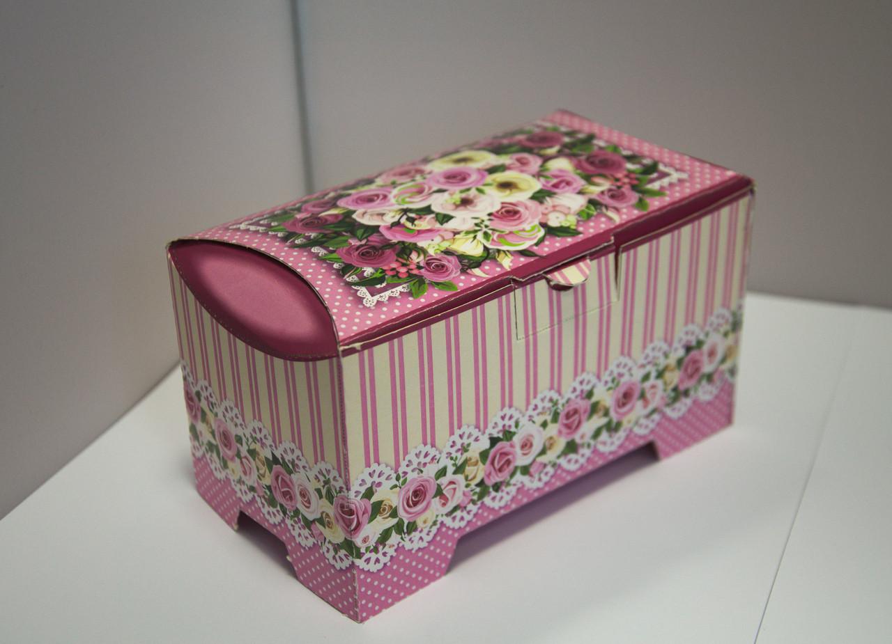 Картонная коробка для хранения Сундучок Розы розовый, 150-300г