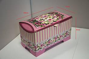 Картонная коробка для хранения Сундучок Розы розовый, 150-300г, фото 2