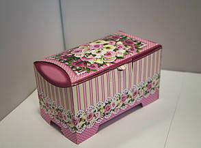 Картонная коробка для хранения Сундучок Розы розовый, 150-300г, фото 3