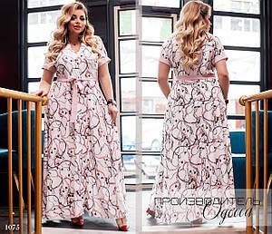 Платье длинное короткий рукав принт софт 50-52,54-56