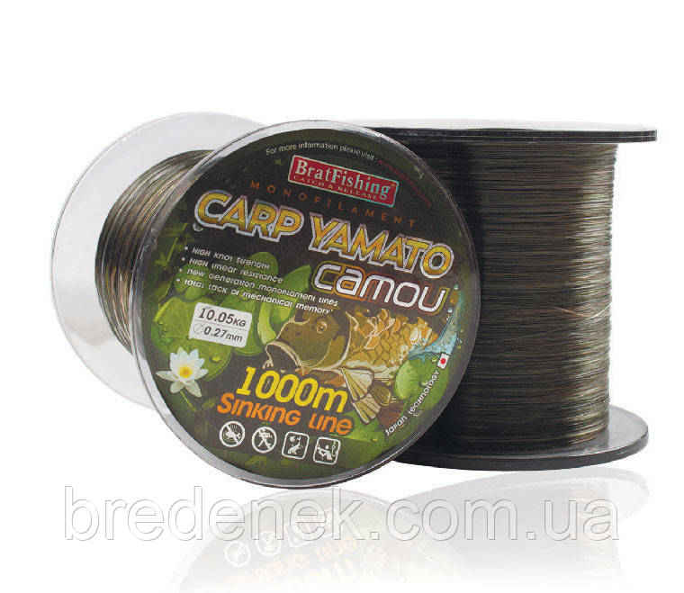 Волосінь коропова Bratfishing Carp Yamato camou 0,30 mm 1000m