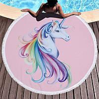 Пляжное полотенце Единорог круглое с микрофиброй на 2 человека