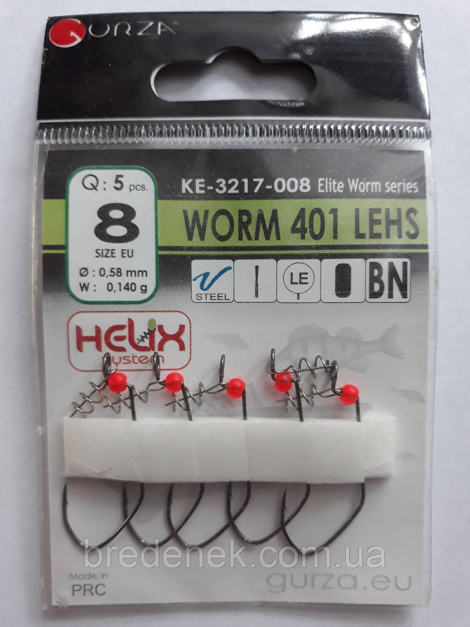 Крючки Gurza worm 401 lehs № 8
