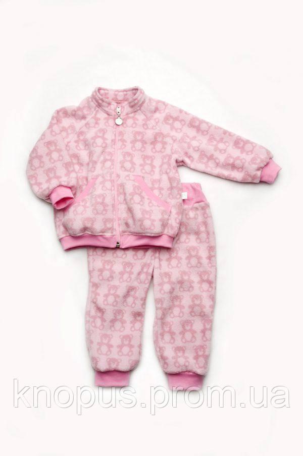 Костюм флисовый 'Мишки' для маленько1 девочки, розовый,  размеры 68-98, Модный карапуз