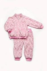 Костюм флисовый 'Мишки' для маленько1 девочки, розовый,  размеры 68-98, Модный карапуз 92