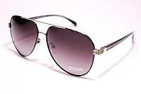 Солнцезащитные очки авиатор с поляризацией, унисекс, цвет оправы чёрный с золотом, Bulgari