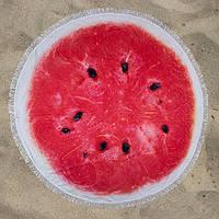 Пляжное полотенце Арбузик круглое с микрофиброй на 2 человека