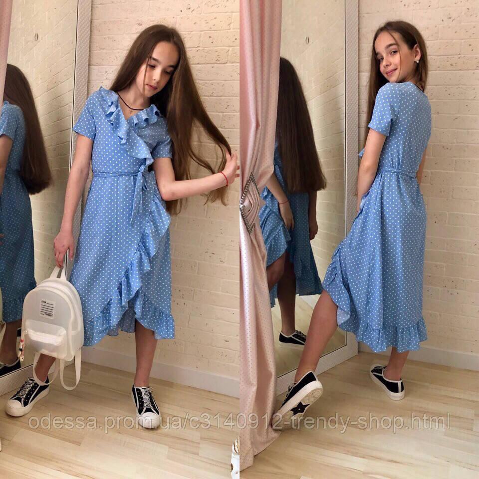Платье для девочки в горох розовое белое чёрное голубое