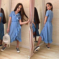 Платье для девочки в горох розовое белое чёрное голубое, фото 1