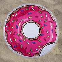 Пляжное полотенце Пончик круглое с микрофиброй на 2 человека