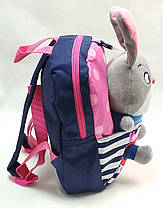 Детский рюкзак с мягкой игрушкой зайка синий, фото 3