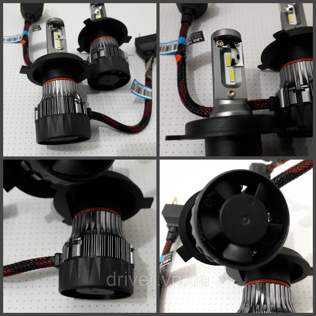 Лампочки LED H4 Hi/Low 6500K / 5000Lm (кт-2шт), 9-36V 30W IP65