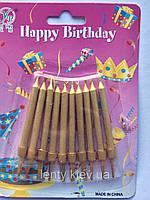 Свечи для торта золотые с подставкой (10 штук), фото 1