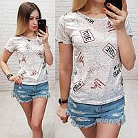 Женская футболка летняя Oversize one size качество турция размер универсал сублимация Love цвет серый, фото 1