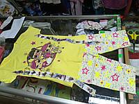 Детский летний костюм для девочки с лампасами  футболка и бриджи Куклы Лол р.122 -152