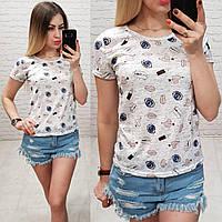 Женская футболка летняя Oversize one size качество турция размер универсал сублимация губы и помада цвет серый, фото 1