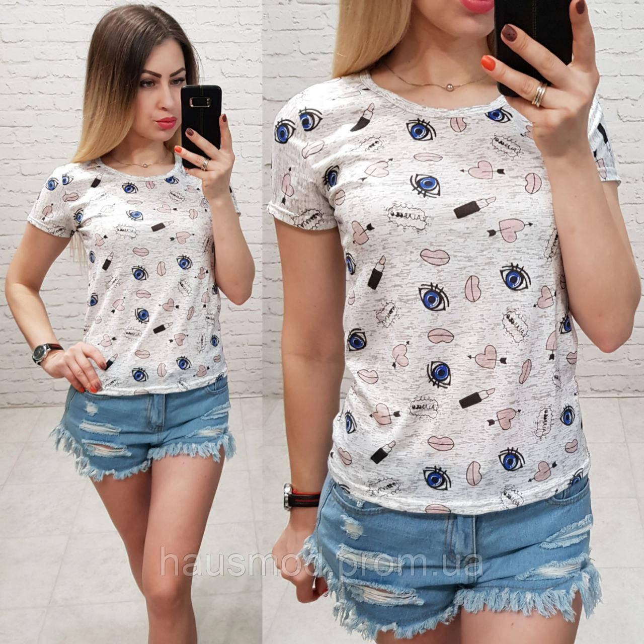 Женская футболка летняя Oversize one size качество турция размер универсал сублимация вишня цвет серый, фото 1